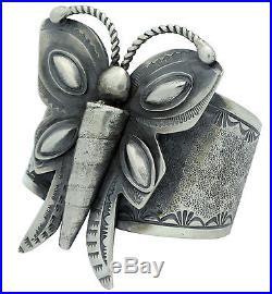 Carole, Wilson Begay, Sandcast Bracelet, Butterfly Design, Navajo Made, 6.75 in