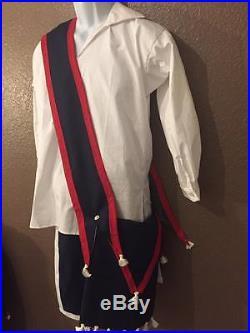Cherokee Wool bandolier bag native american made regalia pow wow reenactor Blue