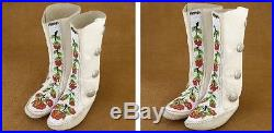 Circa 1970's Women's Rosebud Beaded Leather Moccasins Non native made FREE GIFTS