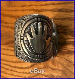 Custom Made Ernie Lister Sterling & Turquoise Hand Heavy Bracelet