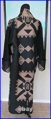 Custom Made Pendleton Style Black & Tan Native Reversible Long Coat Sz XL