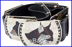 Dale Edaakie, Concho Belt, North American Animals, Inlay, Zuni Made, 56 in