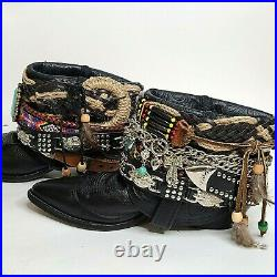 Dan Post Hand-Made / Embellished Womens Sz 8 Festival BOHO Ankle Boots Booties
