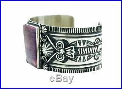 Darrell Cadman, Bracelet, Purple Spiny Oyster Shell, Silver, Navajo Made, 6.5