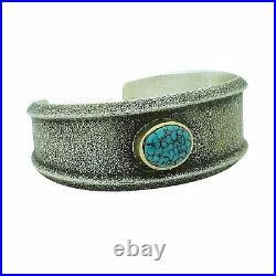Darryl Dean Begay, Bracelet, Cloud Mountain Turquoise, 18k, Navajo Made, 6 1/2