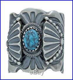 Delbert Gordon, Ring, Nevada Blue Turquoise, Sterling Silver, Navajo Made, 9