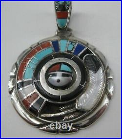 Don Dewa Sterling Silver Pendant Inlay Sunface Spinner Zuni Custom Made Jewelry