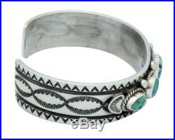 Donovan Cadman, Bracelet, Chinese Turquoise, Stamping, Silver, Navajo Made, 6.5