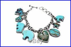Donovan Cadman, Charm Bracelet, Kingman Turquoise, Navajo Made, Adjustable