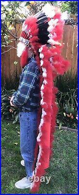 Double Trailer War Bonnet Feather Headdress 72 Native American Made NAVAJO
