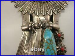 Early Large Sterling Silver Turquoise Coral Sun Kachina Bolo Tie USA Made Navajo