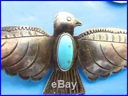 Early Stamped Hand Made Navajo Native American Turquoise Eagle Pin Brooch