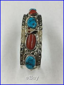 Effie Calavaza Native American Zuni Hand Made Cuff Bracelet Turquoise and Coral