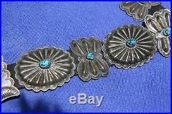 Elegant Vintage Navajo Native American concha belt probably made prior to 1940