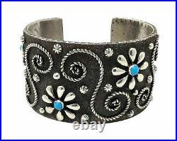 Ernest Rangel, Bracelet, Sterling Silver, Turquoise, Flower, Navajo Made, 6 3/8