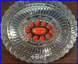 Fb' Native American Sterling Silver Hand Made For 1.5 Belt Buckle Coral Cluster