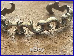F. L. Begay Sandcast Sterling Silver Cuff Bracelet Navajo Made