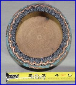 Fine Antique Hand Made Native America Beaded Basket Bowl Estate Find