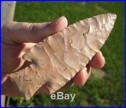 Fine Hardin found in Clay Co, Arkansas, made of Pink/ Tan Flint