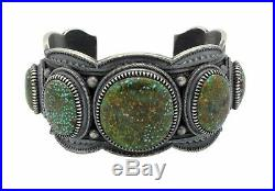 Floyd Parkhurst, Bracelet, Turquoise Mountain, Heavy, Stamping, Navajo Made, 7.5