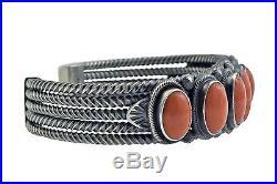 Freddie Maloney, Bracelet, 7 Mediterranean Coral, Sterling Silver, Navajo Made