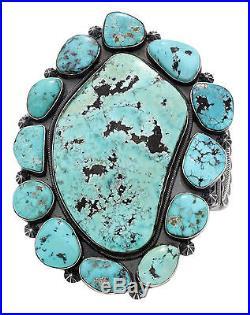 Freddie Maloney, Bracelet, Morenci Turquoise, Cluster, Large, Navajo Made, 7 in