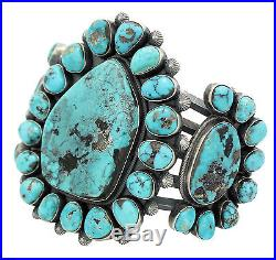 Freddie Maloney, Cluster Bracelet, Morenci Turquoise, Silver, Navajo Made, 7 in