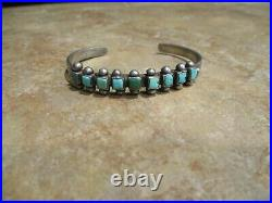 GENUINE Old Pawn Navajo Hand Made Sterling Silver SQUARE TURQUOISE Row Bracelet