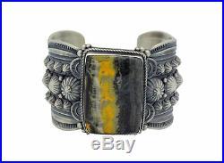 GeneNatan, Bracelet, Bumble Bee Jasper, Sterling Silver, Navajo Made, 6.75