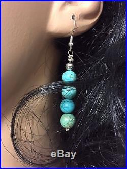Genuine Arizona Kingman Turquoise Beads 8mm Necklace earring set Navajo DJ made