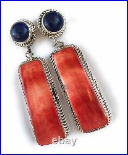 Gorgeous Sterling Silver Navajo Made Spiny Oyster And Lapis Earrings