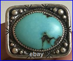 Gorgeous Turquoise Sterling Silver Mens Ring Hand Made Size 11.5 12.5grams