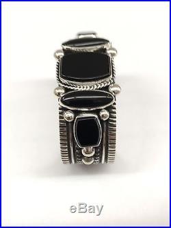 Guy Hoskie Navajo Hand Made Sterling Silver Black Onyx Cuff Bracelet