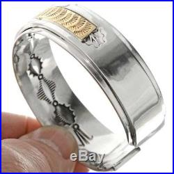 HANDMADE Gold & Silver Bracelet Navajo Made Sporty Mens Cuff BY Tom Ahasteen