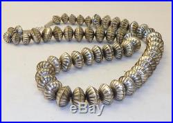 Hand Madenavajonativecalvin Largosterling Silverfluted Bead Necklace