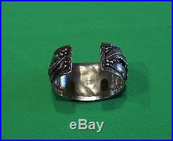 HEAVY VINTAGE NAVAJO HAND MADE STERLING SILVER TURQUOISE & CORAL CUFF BRACELET