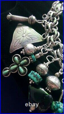 H'made Vintage Navajo, Zuni, NATIVE AMERICAN Sterling & Turquoise Charm Bracelet