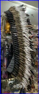 Hand Made Blank/white/brown Feather Native American Indian Headdress USA SELLER