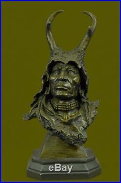 Hand Made Detailed Native American Warrior Head Figurine Sculpture Statue Bro A1