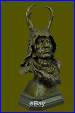 Hand Made Detailed Native American Warrior Head Figurine Sculpture Statue Bronze