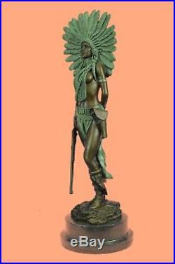 Hand Made Native American Indian Girl Bronze Sculpture Statue Figure Decor Art