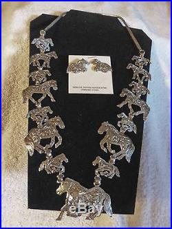 Hand Made Native American Sterling Silver Storyteller Horses Necklace & Earrings