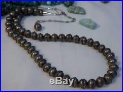Hand Made SUN Stamped STERLING Silver NAVAJO PEARLS 18-22 Adjustable NECKLACE