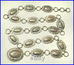 Hand Made Sign JR Jerry Roan Native American NAVAJO STERLING SILVER CONCHO BELT