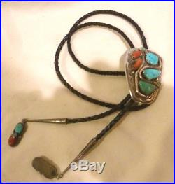 Hand Made Zuni Turquoise, Coral & Sterling Bolo By Effie Calavaza