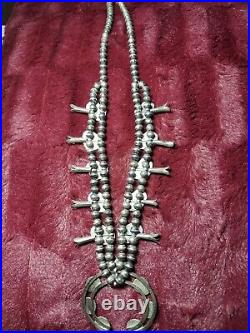 Hand made Antique Silver Squash Blossom Turquoise Necklace for sale