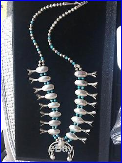 Hand made Antique Silver Squash Blossom Turquoise Necklace for sale. The necklac