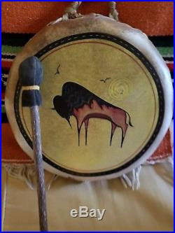 Hand made and painted Native American drum