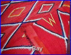 Hand made antique Native American Navajo Blanket Rug 4.7' X 7.7' 1870 1B557