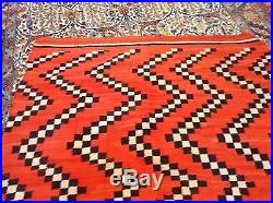 Hand made antique Native American Navajo blanket rug 4,10' x 6,4' 1880